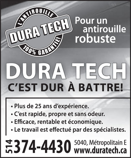 Centre Professionel D'Antirouille Dura Tech (514-374-4430) - Display Ad -