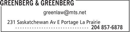 Greenberg & Greenberg (204-857-6878) - Annonce illustrée======= -