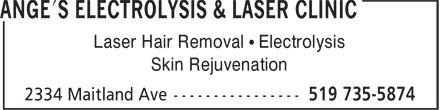 Ange's Electrolysis & Laser Clinic (519-735-5874) - Annonce illustrée======= -