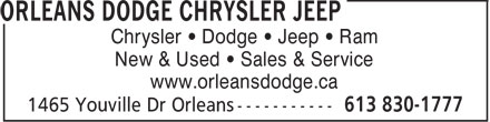 Orleans Dodge Chrysler Jeep (613-830-1777) - Display Ad - Chrysler • Dodge • Jeep • Ram New & Used • Sales & Service www.orleansdodge.ca  Chrysler • Dodge • Jeep • Ram New & Used • Sales & Service www.orleansdodge.ca  Chrysler • Dodge • Jeep • Ram New & Used • Sales & Service www.orleansdodge.ca