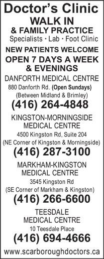 Doctor's Clinic (416-287-3100) - Annonce illustrée======= -