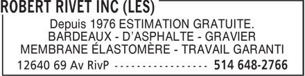 Toitures Duvernay Inc (514-648-2766) - Display Ad - Depuis 1976 ESTIMATION GRATUITE. BARDEAUX - D'ASPHALTE - GRAVIER MEMBRANE ÉLASTOMÈRE - TRAVAIL GARANTI