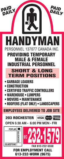 Ads Handyman Personnel 137077 Canada Inc
