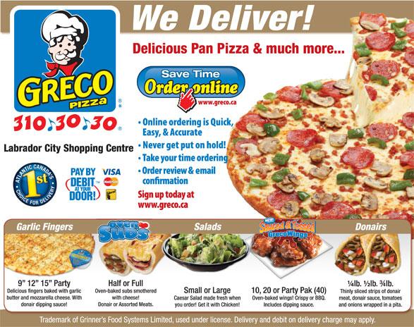 Greco Pizza (902-310-3030) - Annonce illustrée======= -