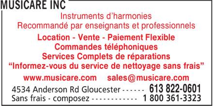 """Musicare Inc (613-822-0601) - Annonce illustrée======= - Instruments d'harmonies Recommandé par enseignants et professionnels Location - Vente - Paiement Flexible """"Informez-vous du service de nettoyage sans frais"""" Commandes téléphoniques Services Complets de réparations"""