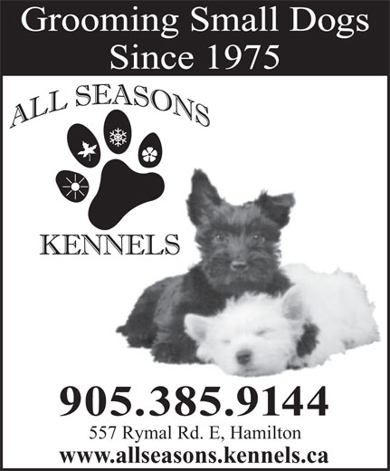 All Seasons Kennels (905-385-9144) - Display Ad - Grooming Small Dogs www.allseasons.kennels.ca Grooming Small Dogs Since 1975 905.385.9144 557 Rymal Rd. E, Hamilton www.allseasons.kennels.ca Since 1975 905.385.9144 557 Rymal Rd. E, Hamilton