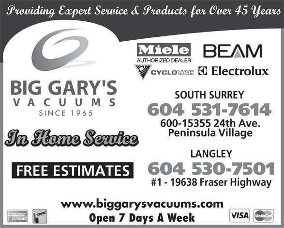 Ads Big Gary's Vacuum Systems Warehouse - Langley Branch