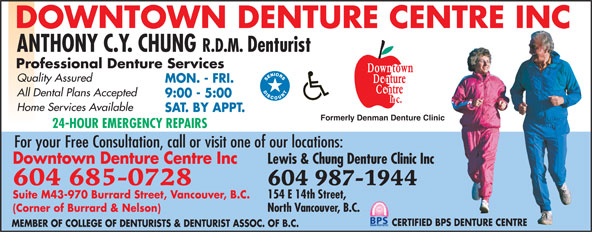 Downtown Denture Centre Inc (604-685-0728) - Display Ad -