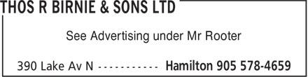 Thos R Birnie & Sons Ltd (905-578-4659) - Annonce illustrée======= - See Advertising under Mr Rooter See Advertising under Mr Rooter