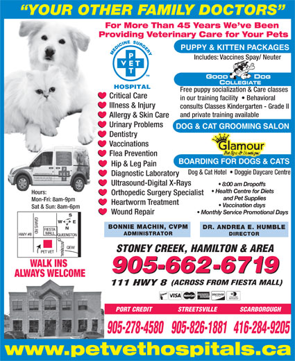 Pet Vet Hospitals (905-662-6719) - Display Ad - YOUR OTHER FAMILY DOCTORS For More Than 45 Years We ve Been Providing Veterinary Care for Your Pets PUPPY & KITTEN PACKAGES Includes: Vaccines Spay/ Neuter Free puppy socialization & Care classes Critical Care in our training facility    Behavioral Illness & Injury consults Classes Kindergarten - Grade II and private training available Allergy & Skin Care Urinary Problems DOG & CAT GROOMING SALON Dentistry Vaccinations Flea Prevention BOARDING FOR DOGS & CATS Hip & Leg Pain Dog & Cat Hotel    Doggie Daycare Centre Diagnostic Laboratory Ultrasound-Digital X-Rays 8:00 am Dropoffs Health Centre for Diets Hours: STREETSVILLE SCARBOROUGH 905-278-4580905-826-1881416-284-9205 www.petvethospitals.ca Orthopedic Surgery Specialist and Pet Supplies Mon-Fri: 8am-9pm Heartworm Treatment Vaccination days Sat & Sun: 8am-6pm Monthly Service Promotional Days Wound Repair BONNIE MACHIN, CVPM DR. ANDREA E. HUMBLE ADMINISTRATOR DIRECTOR STONEY CREEK, HAMILTON & AREA WALK INS 905-662-6719 ALWAYS WELCOME (ACROSS FROM FIESTA MALL) 111 HWY 8 PORT CREDIT