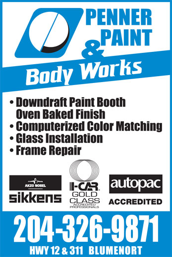 Penner Paint & Body Works (204-326-9871) - Annonce illustrée======= -