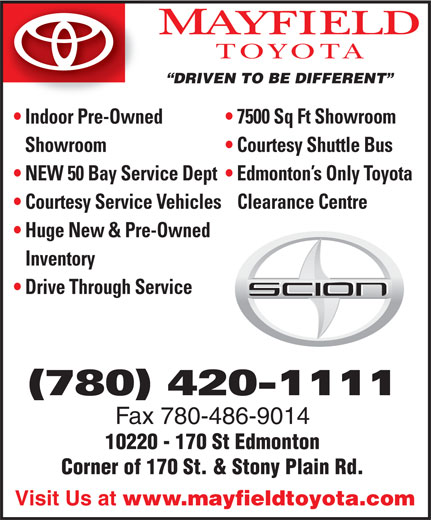 Mayfield Toyota (780-420-1111) - Display Ad -
