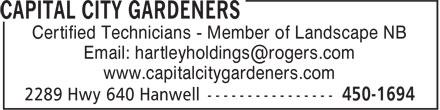 Capital City Gardeners (506-450-1694) - Annonce illustrée======= - Certified Technicians - Member of Landscape NB Email: hartleyholdings@rogers.com www.capitalcitygardeners.com