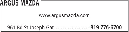 Argus Mazda (819-776-6700) - Annonce illustrée======= - www.argusmazda.com