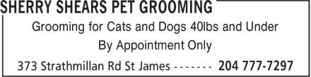 Sherry Shears Pet Grooming (204-777-7297) - Display Ad -