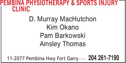 Pembina Physiotherapy & Sports Injury Clinic (204-261-7190) - Display Ad - D. Murray MacHutchon Kim Okano Pam Barkowski Ainsley Thomas