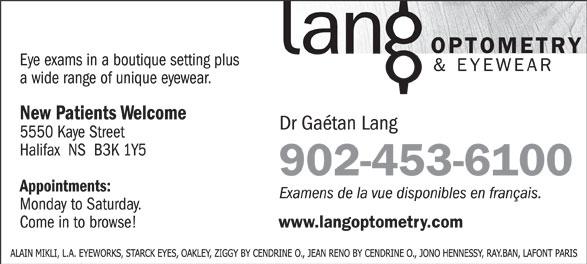 Lang Optometry & Eyewear (902-453-6100) - Annonce illustrée======= - 902-453-6100 902-453-6100