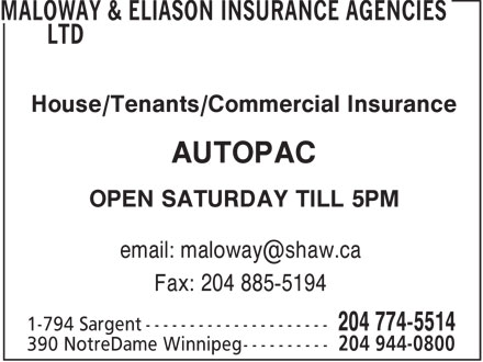 Maloway & Eliason Insurance Agencies Ltd (204-944-0800) - Annonce illustrée======= -