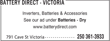 Canadian Energy (250-361-3933) - Display Ad - Inverters, Batteries & Accessories See our ad under Batteries - Dry www.batterydirect.com