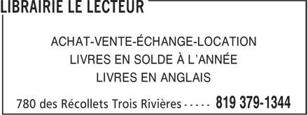 Librairie Le Lecteur (819-379-1344) - Annonce illustrée======= - ACHAT-VENTE-ÉCHANGE-LOCATION LIVRES EN SOLDE À L'ANNÉE LIVRES EN ANGLAIS