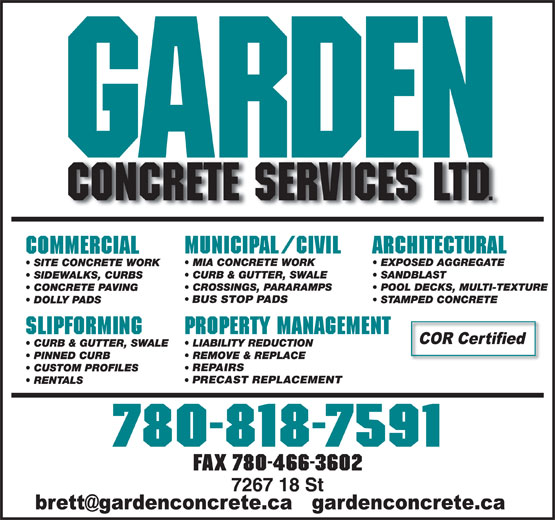 Garden Concrete Services Ltd (780-818-7591) - Annonce illustrée======= - BUS STOP PADS REPAIRS PRECAST REPLACEMENT FAX 780-466-3602 BUS STOP PADS REPAIRS PRECAST REPLACEMENT FAX 780-466-3602