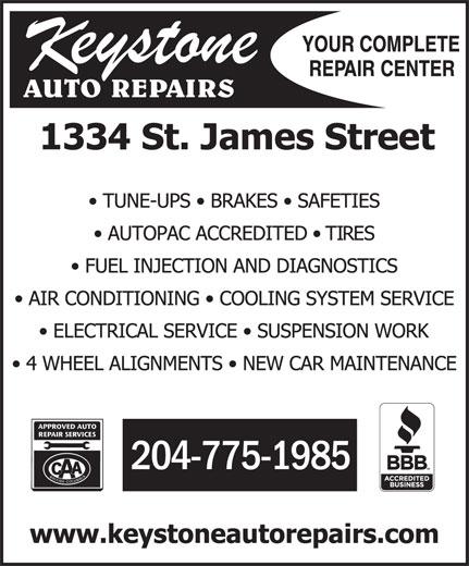 Keystone Auto Repairs (204-775-1985) - Annonce illustrée======= - 204-775-1985 204-775-1985