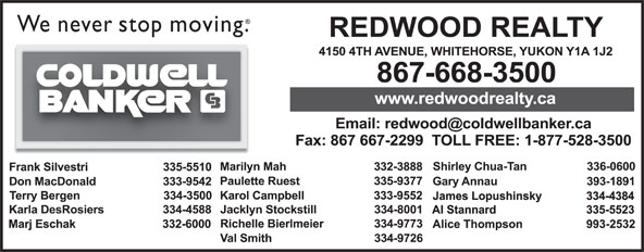 Coldwell Banker (867-668-3500) - Display Ad -
