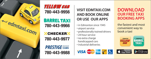 Yellow Cab (780-462-3456) - Annonce illustrée======= - 780-443-9956 the fastest and most in Edmonton since 1945 780-443-9966 convenient way to airport service book a taxi professionally trained drivers 24 hour service no extra charge 780-443-9977 handicapped cars industrial deliveries 780-443-9988