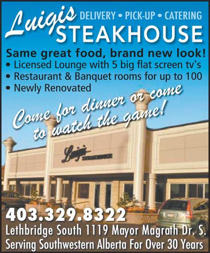 Luigis Steakhouse (403-329-8322) - Annonce illustrée======= -