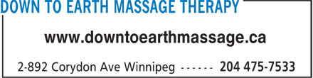 Down to Earth Massage Therapy (204-475-7533) - Display Ad - www.downtoearthmassage.ca