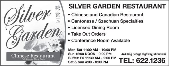 Silver Garden Restaurant (506-622-1236) - Display Ad -
