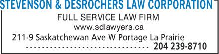 Stevenson & Desrochers Law Corporation (204-239-8710) - Annonce illustrée======= - STEVENSON & DESROCHERS LAW CORPORATION FULL SERVICE LAW FIRM www.sdlawyers.ca