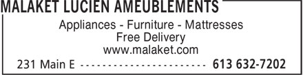 Malaket Lucien Ameublements (613-632-7202) - Display Ad - Appliances - Furniture - Mattresses Free Delivery www.malaket.com
