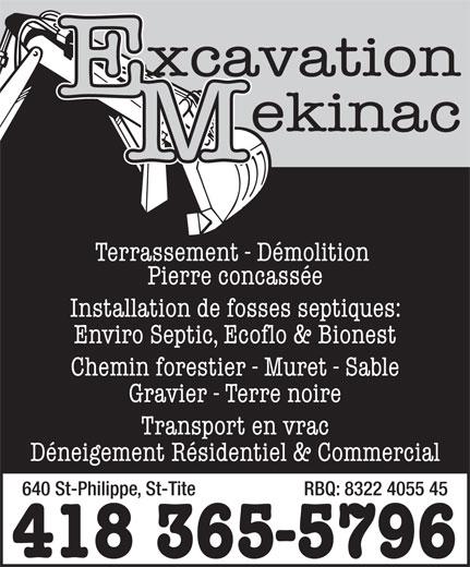 Excavation Mekinac (418-365-5796) - Annonce illustrée======= -