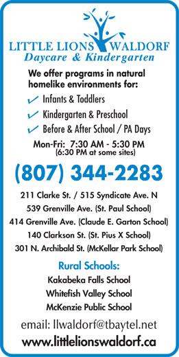 Ads Little Lions Waldorf Daycare & Kindergarten