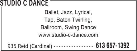Studio C Dance (613-657-1392) - Annonce illustrée======= - Ballet, Jazz, Lyrical, Tap, Baton Twirling, Ballroom, Swing Dance www.studio-c-dance.com
