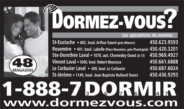 Dormez-Vous - Les Spécialistes du Matelas (450-623-9593) - Display Ad -