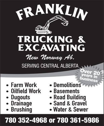 Franklin Trucking & Excavating (780-352-4968) - Annonce illustrée======= -