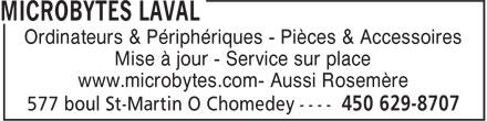 Microbytes Laval (450-629-8707) - Annonce illustrée======= - Ordinateurs & Périphériques - Pièces & Accessoires Mise à jour - Service sur place www.microbytes.com- Aussi Rosemère