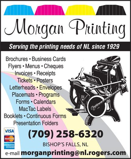 Morgan Printing (709-258-6320) - Annonce illustrée======= - Morgan Printing