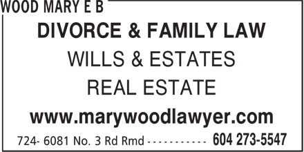 Wood Mary E B (604-273-5547) - Display Ad -
