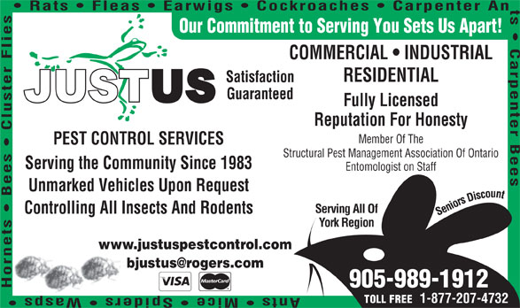 Justus Services (905-989-1912) - Display Ad - Rats   Fleas   Earwigs   Cockroaches   Carpenter An Our Commitment to Serving You Sets Us Apart! COMMERCIAL   INDUSTRIAL RESIDENTIAL s Serving All Of Unmarked Vehicles Upon Request Controlling All Insects And Rodents York Region www.justuspestcontrol.com 905-989-1912 Serving the Community Since 1983 Entomologist on Staff Satisfaction Guaranteed Fully Licensed Reputation For Honesty Member Of The PEST CONTROL SERVICES Structural Pest Management Association Of Ontario 1-877-207-4732 TOLL FREE
