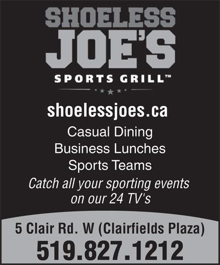 Shoeless  Joe's (519-827-1212) - Annonce illustrée======= -
