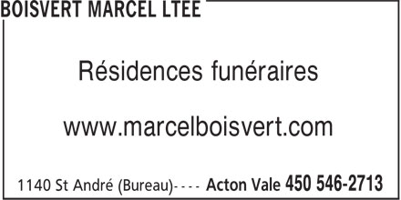 Boisvert Marcel Ltée (450-546-2713) - Annonce illustrée======= -