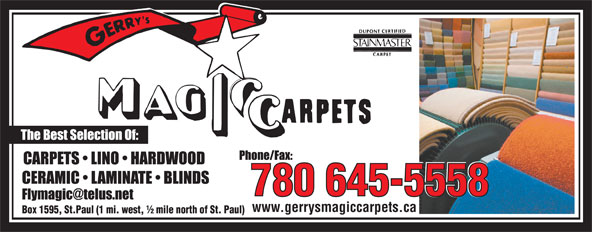 Gerry's Magic Carpets Ltd (780-645-5558) - Display Ad - 780 645-5558 www.gerrysmagiccarpets.ca