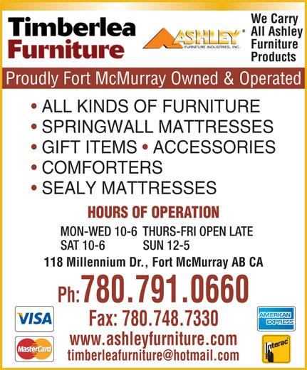 Ashleys Furniture Com: 118 Millennium Dr, Fort McMurray, AB