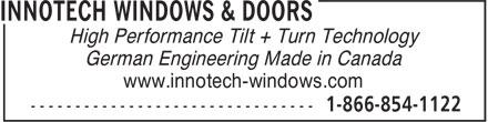 Innotech Windows & Doors (604-854-1111) - Display Ad -