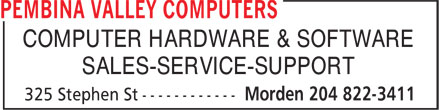Pembina Valley Computers (204-822-3411) - Annonce illustrée======= - COMPUTER HARDWARE & SOFTWARE SALES-SERVICE-SUPPORT