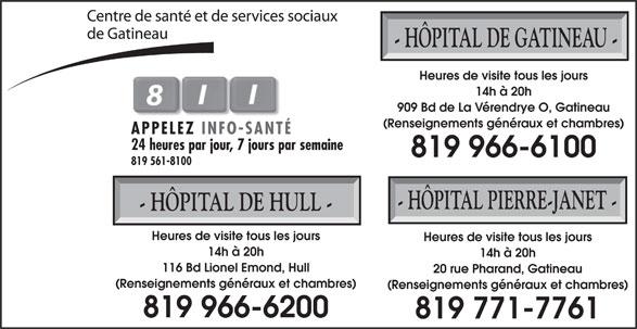 Centre de Santé et de Services Sociaux de Gatineau (819-966-6100) - Annonce illustrée======= -