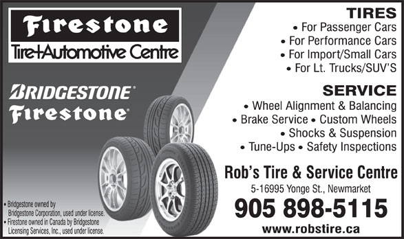 Firestone Tire and Automotive Centres (905-898-5115) - Display Ad -